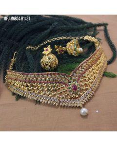 Cz Ruby Emerald Stones Designer Choker Necklace Set Online