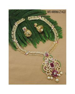 Cz Ruby Emerald Stones Peacock Flowers Leaves Design With Pearls Drops Gold Plated Finish Haram Set Buy Online12919