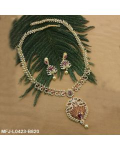 Cz Ruby Emerald Stones Peacock Flowers Thilakam Design With Pearl Drop Gold Plated Finish Haram Set Buy Online12919