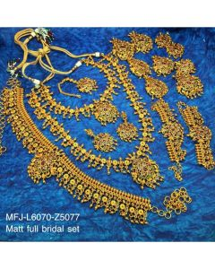 Czrubyemerald Stones With Gold Balls Peacock And Flower Design Matt Finished Full Bridal Set Buy Online12919