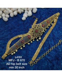 Cz Ruby Emerald Stones With Pearls Drops Flowers Design Gold Plated Finish 30 Inch Hip Belt Buy Online12919