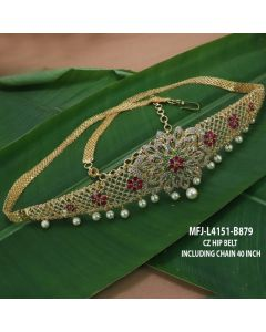 Cz Ruby Emerald Stones With Pearls Drops Flowers Design Gold Plated Finish Hip Belts Buy Online12919