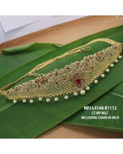 Cz Ruby Emerald Stones With Pearls Drops Flowers Design Gold Plated Finish Hip Belt Buy Online12919