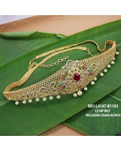 Cz Ruby Emerald Stones With Pearls Drops Peacock Flowers Design Gold Plated Finish Hip Belt Buy Online12919
