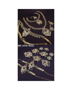 Cz Ruby Stones Flowers Peacock Design Gold Plated Finish Combo Bridal Set Buy Online12919