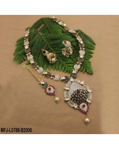Cz Ruby Stones Leaves Thilakam Design With Pearl Drop Gold Plated Black Metal Finish Haram Set Buy Online12919