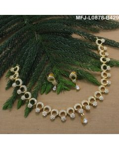 Cz Stones Flowers Drop Design Gold Plated Finish Necklace Set Buy Online