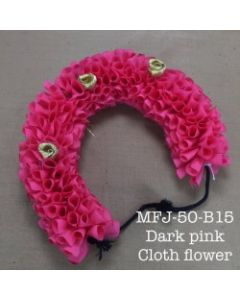 Dark Pink color With Black Thread Artificial Cloth Flowers For Dance Set By Online