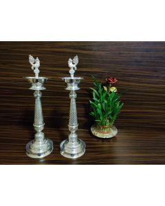 17 inch German silver washable Deepam-pair