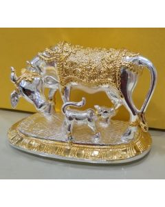Cow & Calf Gold-(avvu and dhooda) and silver 24 kt gold coated