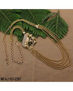 Gold Plated Finish 3 5 Lines Balls Design Chain With Cz Stones Peacock Design Side Pendant Buy Online12919