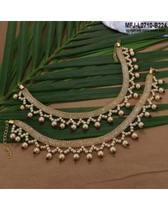 Gold Plated Finish Anklet With Crystal Stones Inside And Pearls Buy Online12919