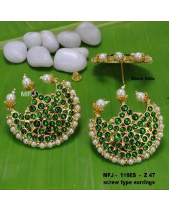 Green Kempu Stones With Pearls Moon Design Screw Type Earrings For Bharatanatyam Dance And Temple Buy Online