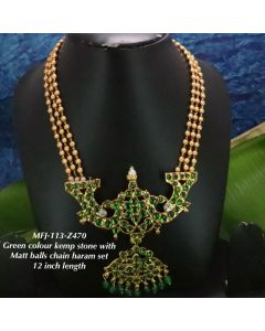 Green-Stonesbeats-With-Matte-Three-Lined-Balls-Chain-Designed-Gold-With-Matte-Plated-Finish-Haram-Set-Buy-Online