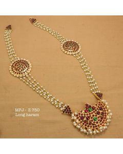 Kemp-Stone-With-Pearls-Sun-Moon-With-Pearls-Lined-Designed-Gold-Plated-Finish-Haram-Set-Buy-Online