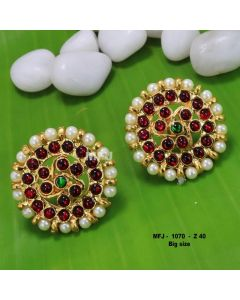 Kempu Multi color Stones With Pearls Round Shaped Flower Design Earrings For Bharatanatyam Dance And Temple Buy Online