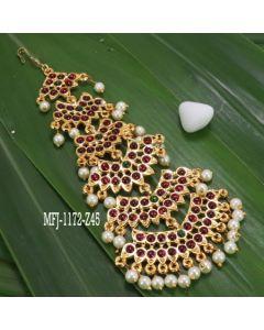 Kempu Stone 6 Step Temple Head Set Bharatanatyam Jewelry Online