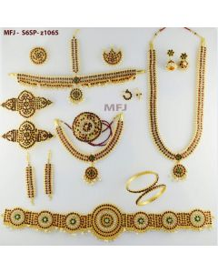 Kempu Stones Flowers Design Gold Color Polished Combo Dance Set For Barathanatyam  &  Temple Buy Online