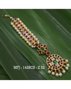 Kempu Stones With Pearls Flowers Design Hair Accessory For Bharatanatyam Dance And Temple Buy Online1