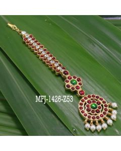 Kempu Stones With Pearls Flowers Design Hair Accessory For Bharatanatyam Dance And Temple Buy Online2