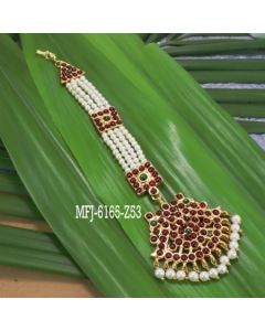 Kempu Stones With Pearls Flowers Pearls Design Hair Accessory For Bharatanatyam Dance And Temple Buy Online