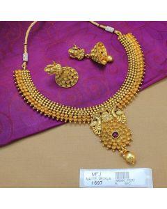 Kempu Stone Lakshmi Peacock Design Mat Finish Necklace Set Online