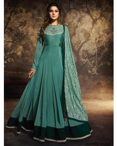 Green Georgette Multi Party Anarkali Salwar Kameez