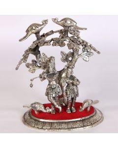 Oxidised radha krishna tree embossed art work
