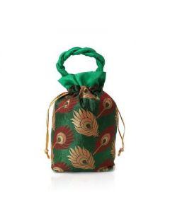 Potli Bag – Peacock Feather -25 per pack