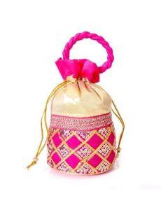Potli Bag – Pink Chamki Diamond work with Thread Handle -50 per pack
