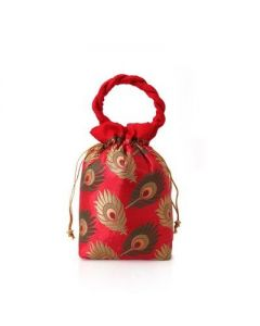 Potli Bag – Red Peacock Feather -25 per pack