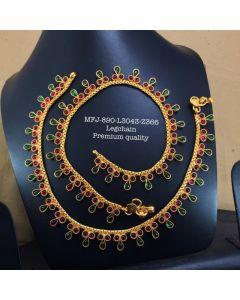 Premium Quality Redgreen Thilagam Stones Flower Designer Matte Finish Ankletleg Chain Set Buy Online12919