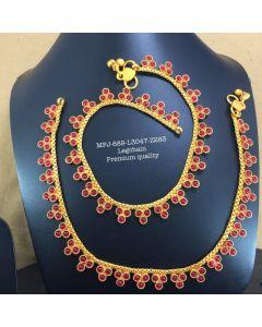 Premium Quality Red Stones Flower Designer Mat Finish Ankletleg Chain Set Buy Online12919