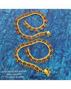 Premium Quality Red Stones With Matte Balls Designer Mat Finish Ankletleg Chain Set Buy Online12919