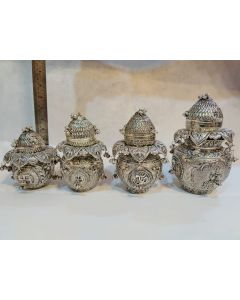 Antique German silver washable Mangal kalsha ganesh and Lakshmi both design - 9 inch, 7 inch , 6 inch, 5 inch