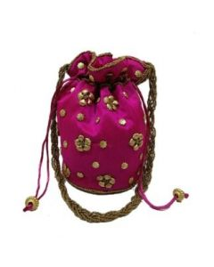 Raw Silk Potli With Rich Floral Embroidery- Pack of 25