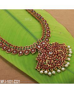 Red & Green Kempu stone Mango Design Haram  Temple Necklace Dance Jewelry