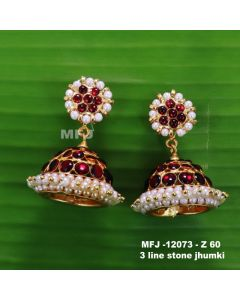Red Stones With Pearls Three Lined Design Jumka For Bharatanatyam Dance And Temple Buy Online