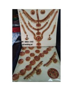 Red Green Color Stones With Pearls 10 Ps Bharatanatyam Full Set Jewelry set By Online