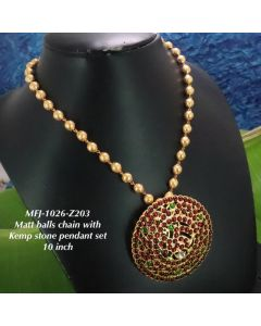 Redgreen-Stones-Peacock-Ragidi-With-Matte-Balls-Chain-Designed-Gold-With-Matte-Plated-Finish-Haram-Set-Buy-Online