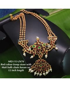 Redgreen-Stones-With-Pearls-Matte-Three-Lined-Balls-Chain-Designed-Gold-With-Matte-Plated-Finish-Haram-Set-Buy-Online