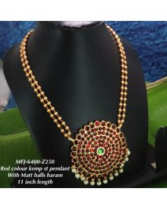 Redgreen-Stones-With-Pearls-Matte-Two-Lined-Balls-Chain-Designed-Gold-With-Matte-Plated-Finish-Haram-Set-Buy-Online