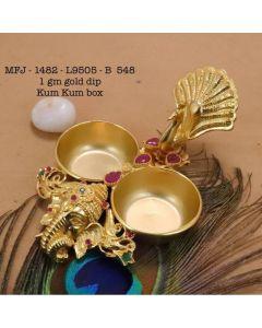 Rubyemerald-Stoned-Elephantpeacock-Design-1-Gr-Gold-Finished-Kum-Kum-Stand-Set-Online