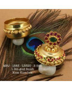 Rubyemerald-Stoned-Flower-Design-1-Gr-Gold-Finished-Kum-Kum-Stand-Set-Online