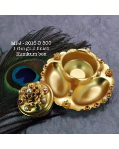 Rubyemerald-Stoned-With-Pearls-Flower-Design-1-Gr-Gold-Finished-Kum-Kum-Stand-Set-Online
