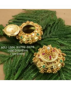 Rubyemerald-Stoned-With-Pearls-Peacock-With-Flower-Design-1-Gr-Gold-Finished-Kum-Kum-Stand-Set-Online