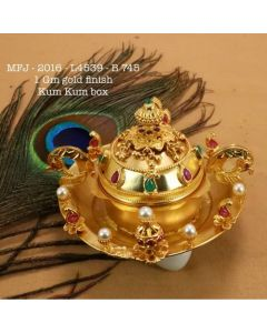 Rubyemerald-Stoned-With-Pearls-Peacockmango-Flower-Design-1-Gr-Gold-Finished-Kum-Kum-Stand-Set-Online