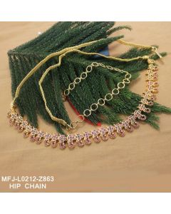Ruby Emerald Stones Flowers Leaves Design Gold Plated Finish Hip Chain Buy Online12919