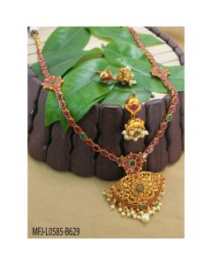 Ruby Emerald Stones Flowers Leaves Thilakam Design With Pearls Drops Mat Finish Haram Set Buy Online12919