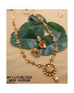Ruby Emerald Stones Lakshmi Flowers Design With Pearls Drops Mat Finish Mini Haram Set Buy Online12919